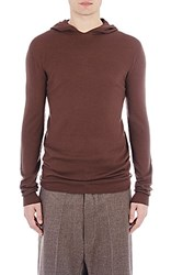 Rick Owens Men's Fine Gauge Knit Hoodie Burgundy Brown