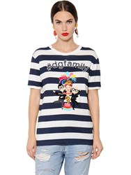 Dolce And Gabbana Dgfamily Striped Cotton Jersey T Shirt