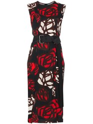 Marni Sleeveless Rose Print Dress Red