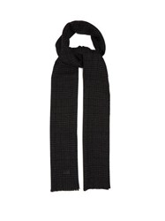 Saint Laurent Houndstooth Checked Wool Twill Scarf Black