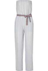 Lemlem Nefasi Striped Cotton Blend Gauze Jumpsuit Sky Blue