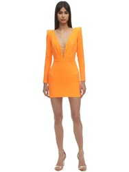 Alex Perry Envers Satin Crepe Mini Dress Orange