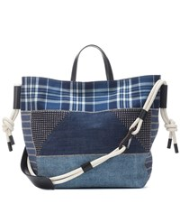 Etro Patchwork Denim Tote Blue