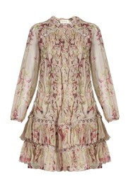 Zimmermann Winsome Sphere Floral Print Silk Dress Pink Multi