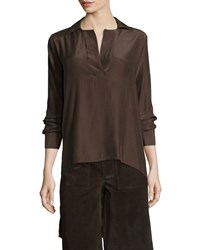 Frame Denim Le High Low Popover Tunic Coffee Bean Size Xs