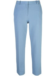 Theory Cropped Mid Rise Trousers Blue