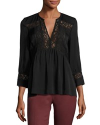 Rebecca Taylor 3 4 Sleeve Lace Inset Blouse Black