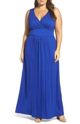 Loveappella Plus Size Women's Surplice Maxi Dress Royal