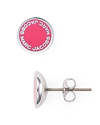 Marc Jacobs Logo Disc Stud Earrings Pink Silver