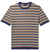 Altea Striped Knitted Cotton And Linen Blend T Shirt Multi