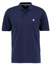 Carhartt Wip Chase Loose Fit Polo Shirt Blue White Dark Blue