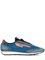 Prada Milano 70 Nylon And Suede Running Sneakers Blue