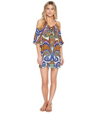 Trina Turk Pacific Paisley Off Shoulder Tunic Cover Up Multi Women's Swimwear