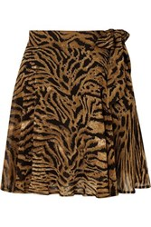 Ganni Tiger Print Georgette Mini Skirt Brown