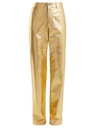 Calvin Klein 205W39nyc Straight Leg Leather Trousers Gold