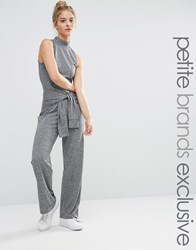 Noisy May Petite Roll Neck Sleeveless Jersey Jumpsuit With Tie Waist Grey