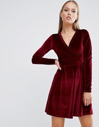 Asos Wrap Skater Dress In Velvet Oxblood Red