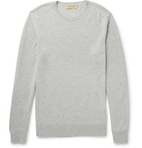 Burberry Slim Fit Elbow Patch Melange Cashmere And Cotton Blend Sweater Light Gray