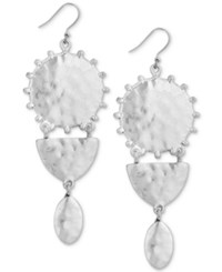 Lucky Brand Silver Tone Medallion Drop Earrings