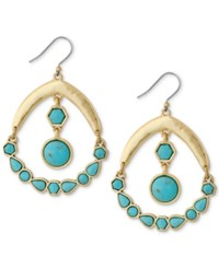 Lucky Brand Gold Tone Blue Stone Chandelier Earrings
