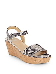 Stuart Weitzman Deann Snake Print Leather Wedge Sandals