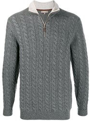 N.Peal Cable Knit Stand Collar Jumper Grey