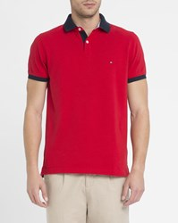 Tommy Hilfiger Red Collar Revers Logo Polo Shirt