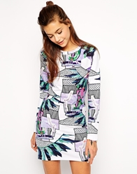 Illustrated People Holla Shout Long Sleeve Bodycon Dress Multi