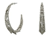 Alexis Bittar Crystal Encrusted Spiked Lattice Hoop Earrings Matte Rhodium Earring Silver