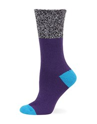 Hot Sox Color Blocked Marled Boot Socks Purple