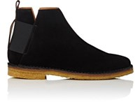 Barneys New York Men's Elastic Detailed Suede Jodhpur Boots Black