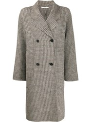 Odeeh Check Print Coat Neutrals