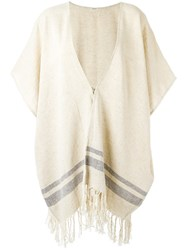 Osklen Zipped Knitted Poncho Women Cotton Linen Flax One Size Nude Neutrals