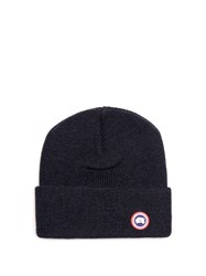 Canada Goose Logo Applique Ribbed Knit Wool Beanie Hat Navy