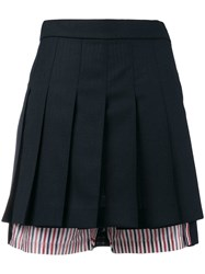Thom Browne Pleated Bloomer Miniskirt Blue