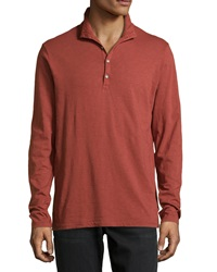 Ag Adriano Goldschmied Funnel Neck Jersey Shirt Rust Red