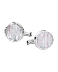 Montblanc Stainless Steel Cufflinks W Ornamental Inlay Multi