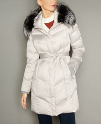 The Fur Vault Fox Trim Hooded Puffer Coat Beige