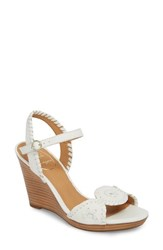 Jack Rogers 'Clare' Rope Wedge Leather Sandal White Leather