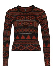 Marc Cain Aztec Studded Jumper Red Ochre