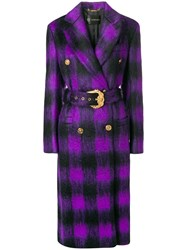 Versace Checked Belted Coat Pink And Purple