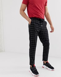 Sixth June Tapered Trousers In Black Check With Side Stripe