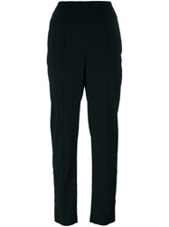 Theory Pleated Tapered Trousers Black