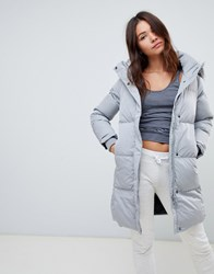 Superdry Long Line Padded Parka With Faux Fur Hood Grey