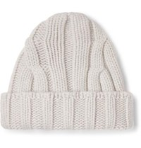 Connolly Ribbed Merino Wool And Cashmere Blend Beanie Neutral