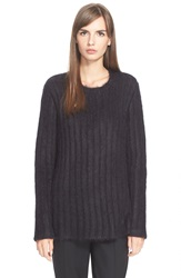 N 21 Sheer Back Rib Knit Sweater Black