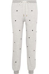 The Great Embroidered Cotton Blend Jersey Track Pants Gray