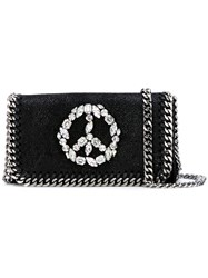 Stella Mccartney Jewelled Peace Sign Chain Bag Black