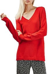 Topshop Women's Pointelle And Rib V Neck Sweater Red