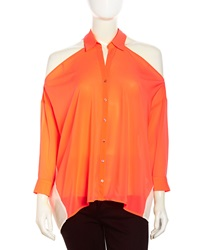Stella And Jamie Cold Shoulder Mixed Media Blouse Neon Coral Gardenia